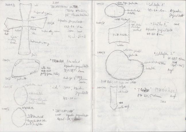 Eine Seite aus Raimer Jochims´ handgeschriebenen Werkverzeichnis-Heften.